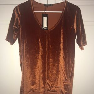 NWT Nasty Gal Velvet Short Sleeve V Neck Orange